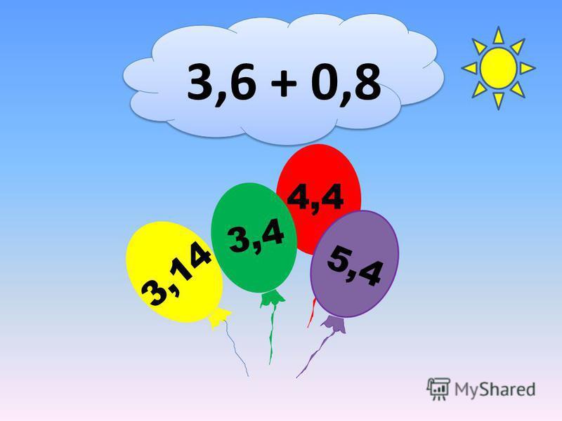 3,6 + 0,8 4,4 3,14 3,4 5,4