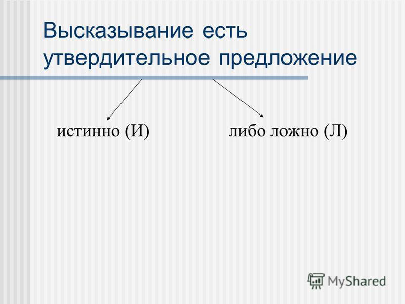 Высказывание есть утвердительное предложение истинно (И)либо ложно (Л)