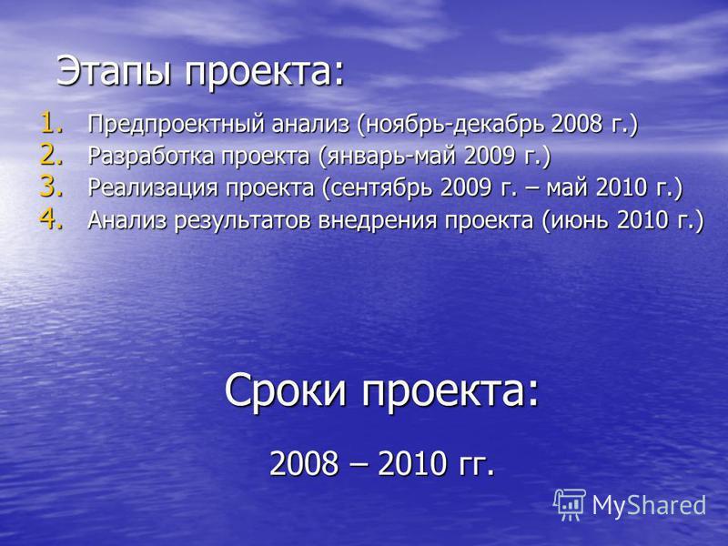 Этапы проекта: 1. Предпроектный анализ (ноябрь-декабрь 2008 г.) 2. Разработка проекта (январь-май 2009 г.) 3. Реализация проекта (сентябрь 2009 г. – май 2010 г.) 4. Анализ результатов внедрения проекта (июнь 2010 г.) Сроки проекта: 2008 – 2010 гг.
