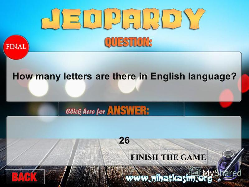 FINAL How many letters are there in English language?