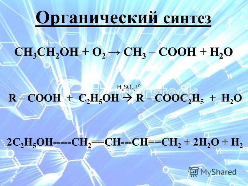 СН 3 СН 2 ОН + О 2 СН 3 – СООН + Н 2 О Н 2 SО 4, t 0 R – СООН + С 2 Н 5 ОН R – СООС 2 Н 5 + Н 2 О 2С 2 Н 5 ОН-----СН 2 ==СН---СН==СН 2 + 2Н 2 О + Н 2 Органический синтез