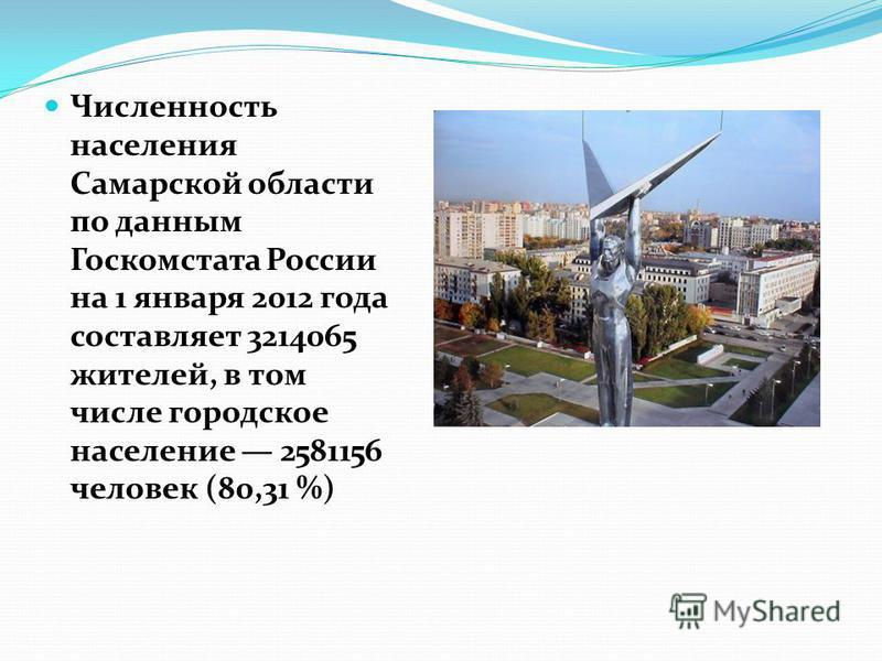 Численность населения Самарской области по данным Госкомстата России на 1 января 2012 года составляет 3214065 жителей, в том числе городское население 2581156 человек (80,31 %)