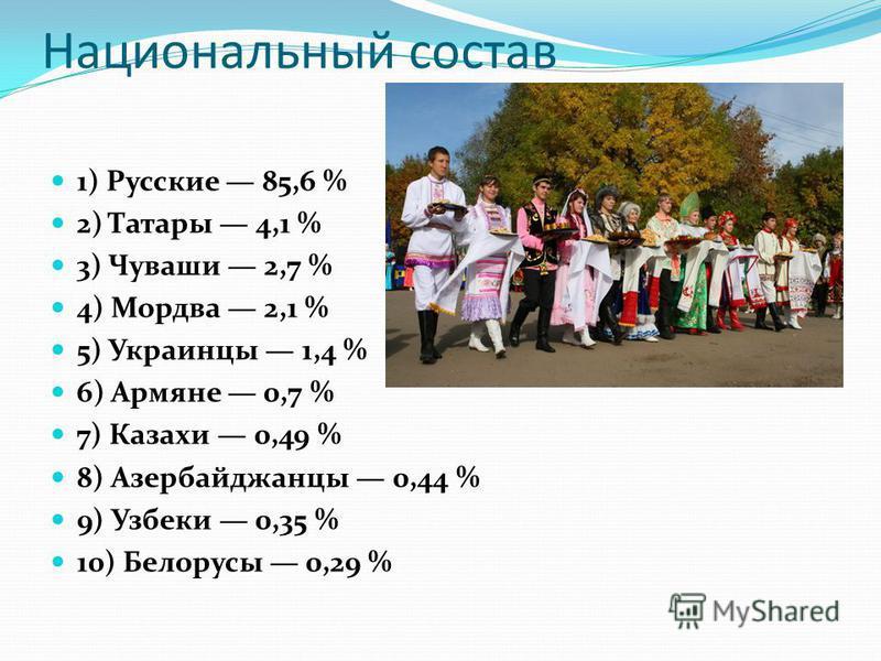 Национальный состав 1) Русские 85,6 % 2) Татары 4,1 % 3) Чуваши 2,7 % 4) Мордва 2,1 % 5) Украинцы 1,4 % 6) Армяне 0,7 % 7) Казахи 0,49 % 8) Азербайджанцы 0,44 % 9) Узбеки 0,35 % 10) Белорусы 0,29 %