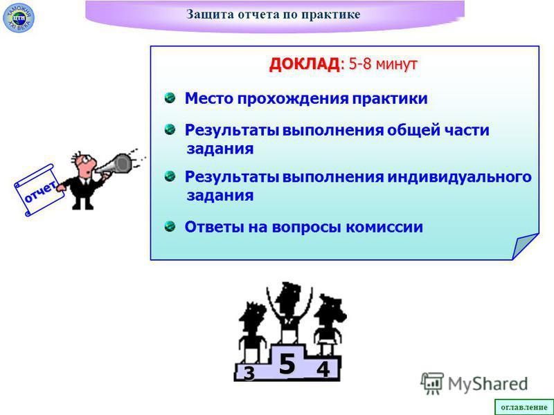 отчет Защита отчета по практике 3 4 5 ДОКЛАД: 5-8 минут Место прохождения практики Результаты выполнения общей части задания Ответы на вопросы комиссии Результаты выполнения индивидуального задания оглавлениецтн