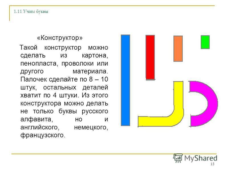 14 1.8 Учим буквы Если вы используете плакаты с буквами, то придерживайтесь правила – каждой букве должны соответствовать 2-3 картинки. Например Б – банан, бегемот; В – ворона, волк. Если вы используете готовый плакат, то дорисуйте или наклейте допол