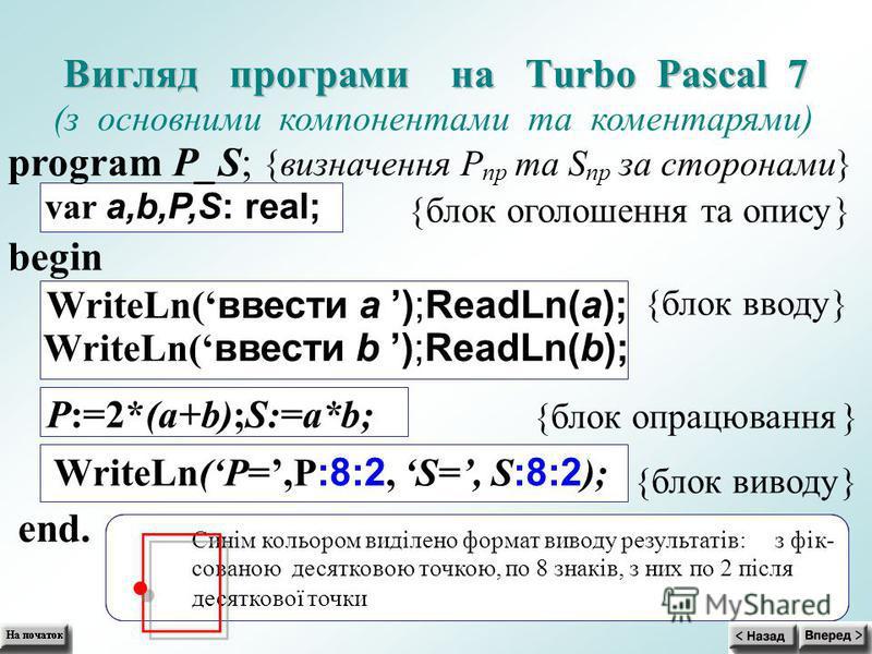 В В и и г г л л я я д д п п р р о о г г р р а а м м и и н н а а T T u u r r b b o o P P a a s s c c a a l l 7 7 (з основними компонентами та коментарями) program P_S; { визначенняP пр таS пр за сторонами } var a,b,P,S: real; {блок оголошення та опису