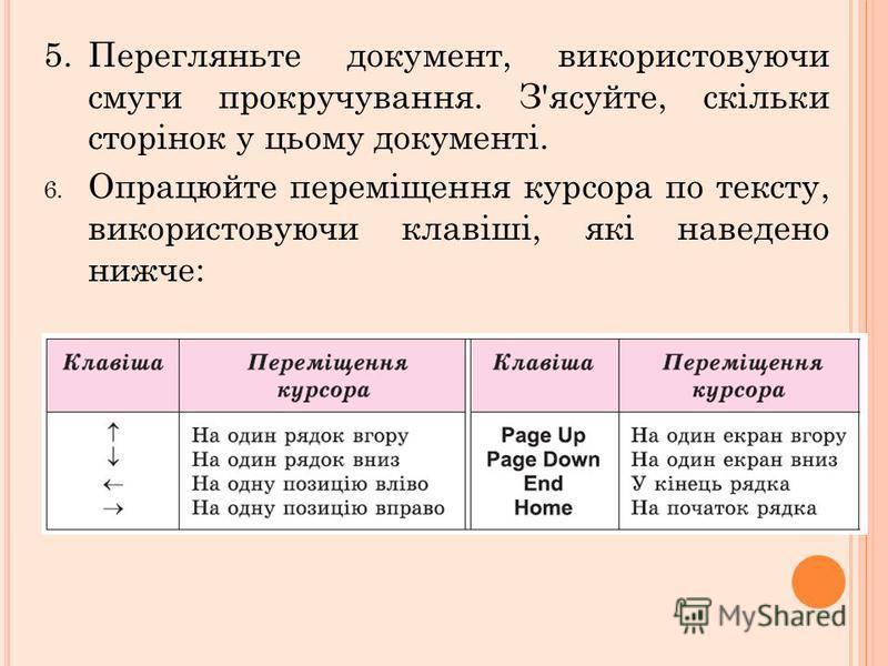 5.Перегляньте документ, використовуючи смуги прокручування. З'ясуйте, скільки сторінок у цьому документі. 6. Опрацюйте переміщення курсора по тексту, використовуючи клавіші, які наведено нижче: