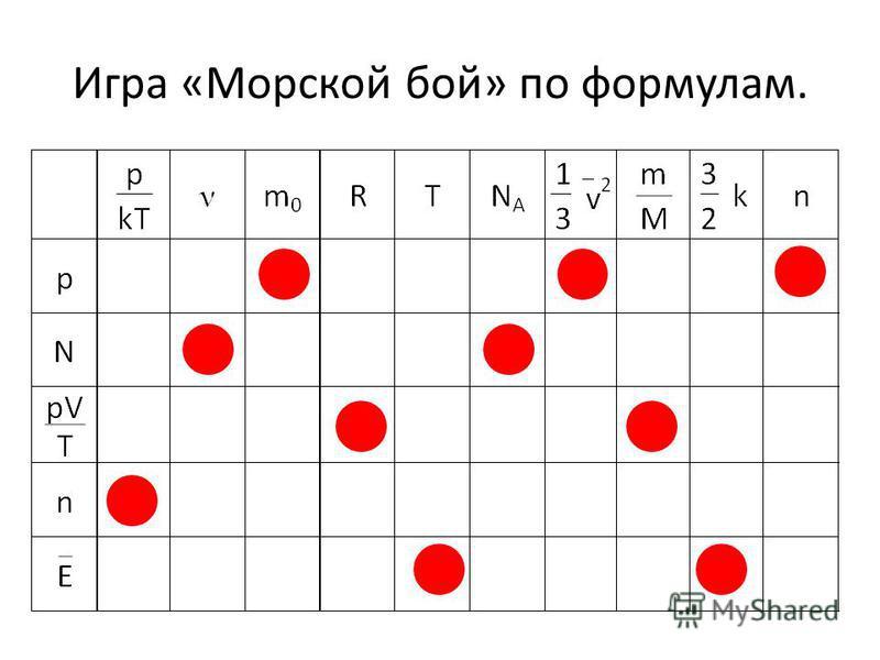 Игра «Морской бой» по формулам.