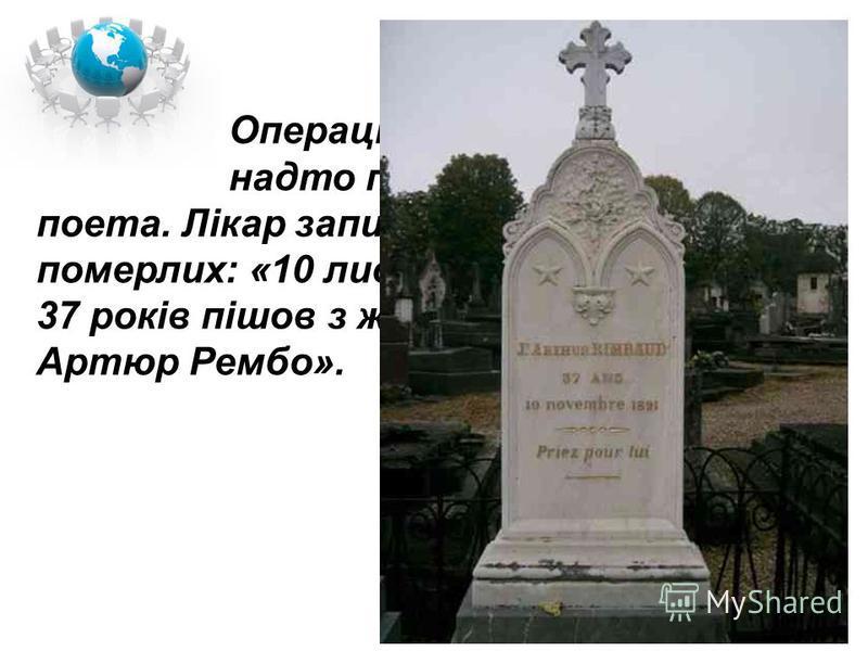 Операція, що була зроблена надто пізно, не врятувала поета. Лікар записав у книзі реєстрації померлих: «10 листопада 1891 р. у віці 37 років пішов з життя негоціант Артюр Рембо».