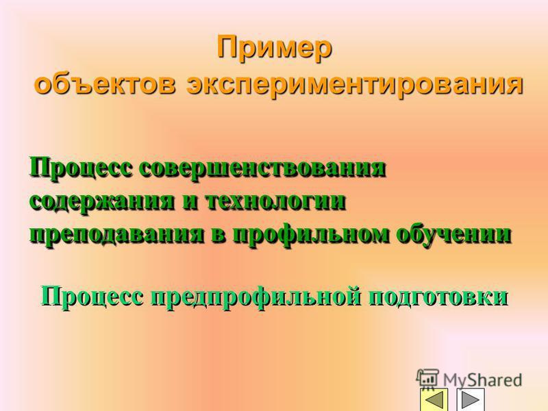 Пример объектов экспериментирования Процесс совершенствования содержания и технологии преподавания в профильном обучении Процесс предпрофильной подготовки