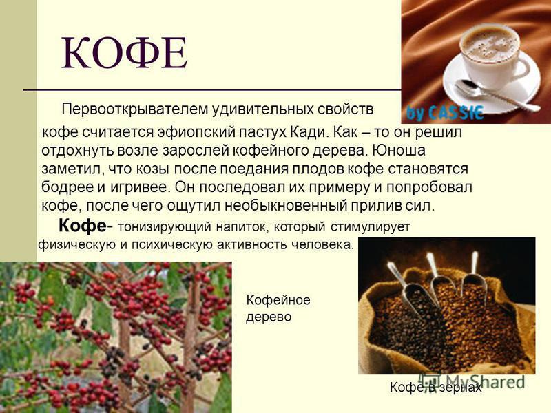КОФЕ Первооткрывателем удивительных свойств кофе считается эфиопский пастух Кади. Как – то он решил отдохнуть возле зарослей кофейного дерева. Юноша заметил, что козы после поедания плодов кофе становятся бодрее и игривее. Он последовал их примеру и