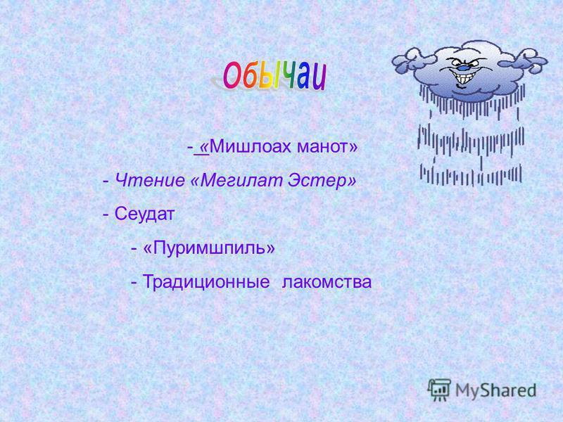 - «Мишлоах манот» - Чтение «Мегилат Эстер» - Сеудат - «Пуримшпиль» - Традиционные лакомства