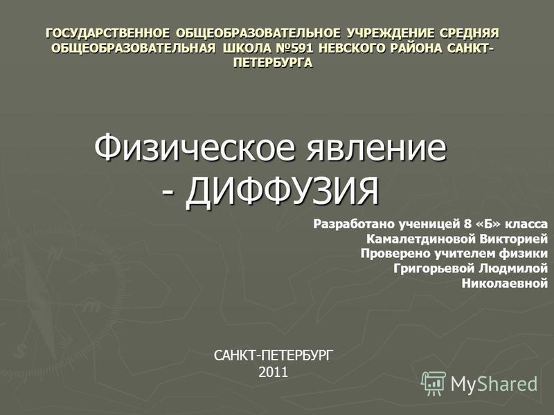 ГОСУДАРСТВЕННОЕ ОБЩЕОБРАЗОВАТЕЛЬНОЕ УЧРЕЖДЕНИЕ СРЕДНЯЯ ОБЩЕОБРАЗОВАТЕЛЬНАЯ ШКОЛА 591 НЕВСКОГО РАЙОНА САНКТ- ПЕТЕРБУРГА Физическое явление - ДИФФУЗИЯ Разработано ученицей 8 «Б» класса Камалетдиновой Викторией Проверено учителем физики Григорьевой Людм