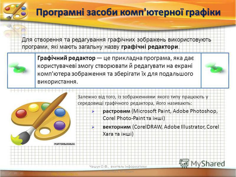 Програмні засоби комп'ютерної графіки Графічний редактор це прикладна програма, яка дає користувачеві змогу створювати й редагувати на екрані комп'ютера зображення та зберігати їх для подальшого використання. Залежно від того, із зображеннями якого т