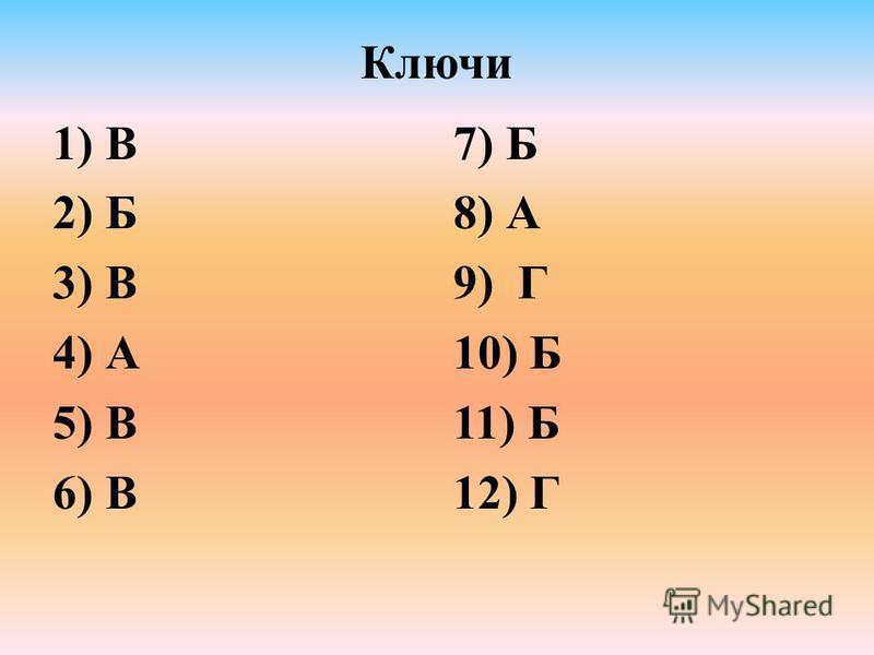 Ключи 1) В 2) Б 3) В 4) А 5) В 6) В 7) Б 8) А 9) Г 10) Б 11) Б 12) Г