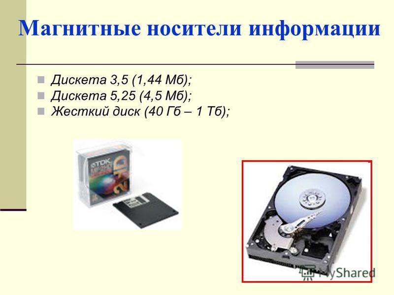 Магнитные носители информации Дискета 3,5 (1,44 Мб); Дискета 5,25 (4,5 Мб); Жесткий диск (40 Гб – 1 Тб);