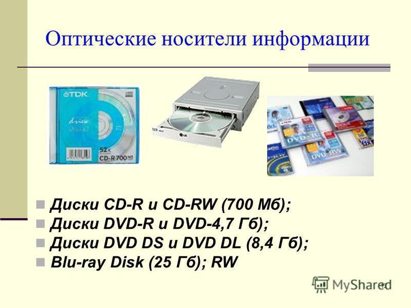 13 Оптические носители информации Диски CD-R и CD-RW (700 Мб); Диски DVD-R и DVD-4,7 Гб); Диски DVD DS и DVD DL (8,4 Гб); Blu-ray Disk (25 Гб); RW