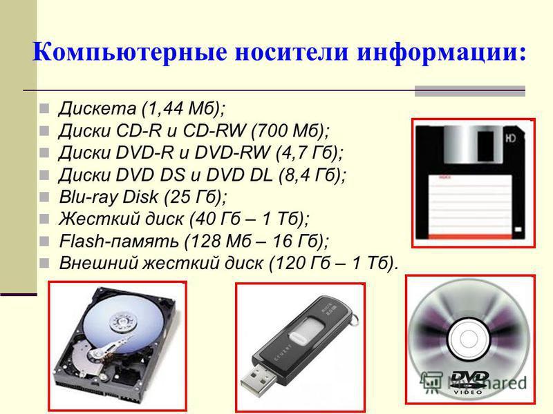 Компьютерные носители информации: Дискета (1,44 Мб); Диски CD-R и CD-RW (700 Мб); Диски DVD-R и DVD-RW (4,7 Гб); Диски DVD DS и DVD DL (8,4 Гб); Blu-ray Disk (25 Гб); Жесткий диск (40 Гб – 1 Тб); Flash-память (128 Мб – 16 Гб); Внешний жесткий диск (1