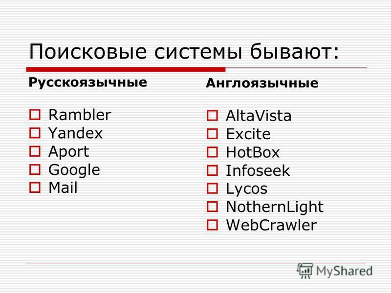 Поисковые системы бывают: Русскоязычные Rambler Yandex Aport Google Mail Англоязычные АltaVista Excite HotBox Infoseek Lycos NothernLight WebCrawler