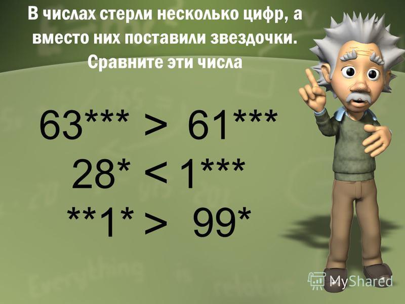 В числах стерли несколько цифр, а вместо них поставили звездочки. Сравните эти числа 63*** 61*** 28* 1*** **1* 99* > < >