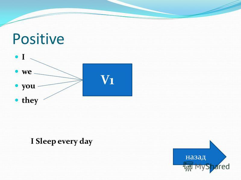 Positive I we you they V1V1 I Sleep every day назад
