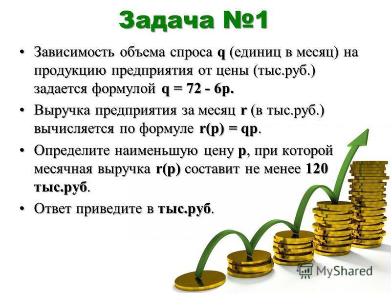 Задача 1 Зависимость объема спроса q (единиц в месяц) на продукцию предприятия от цены (тыс.руб.) задается формулой q = 72 - 6p.Зависимость объема спроса q (единиц в месяц) на продукцию предприятия от цены (тыс.руб.) задается формулой q = 72 - 6p. Вы