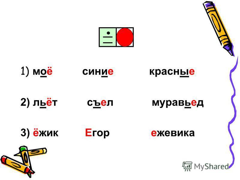 1) моё синие красные 2) льёт съел муравьед 3) ёжик Егор ежевика