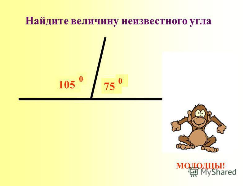 МОЛОДЦЫ! ? 105 0 Найдите величину неизвестного угла 75 0