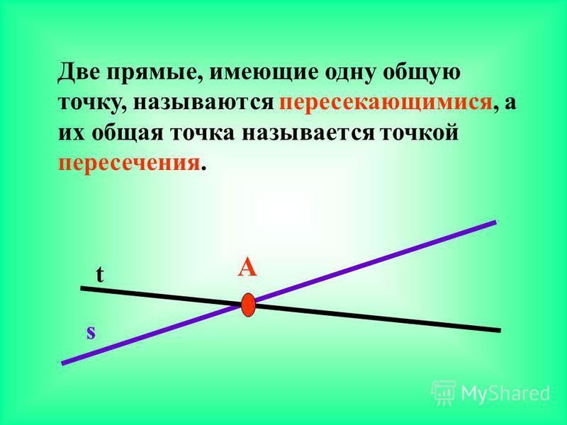 Две прямые, имеющие одну общую точку, называются пересекающимися, а их общая точка называется точкой пересечения. А s t