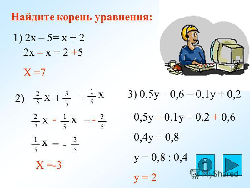 Найдите корень уравнения: 1) 2 х – 5= х + 2 2 х – х = 2 +5 Х =7 2) 2 5 Х 3 5 = 1 5 х + 3 5 2 5 Х 1 5 х = -- 1 5 х = 3 5 - Х =-3 3) 0,5y – 0,6 = 0,1y + 0,2 0,5y – 0,1y = 0,2 + 0,6 0,4y = 0,8 y = 0,8 : 0,4 y = 2