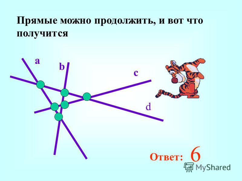 Прямые можно продолжить, и вот что получится a b c d 6 Ответ: