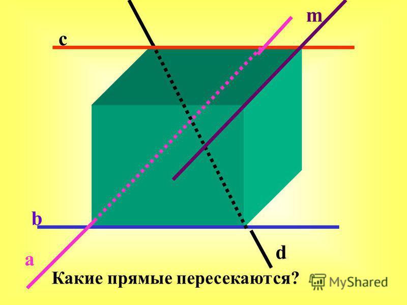 a b c d m Какие прямые пересекаются?