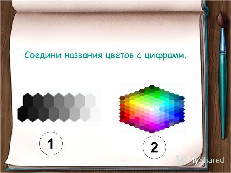1 2 Соедини названия цветов с цифрами.
