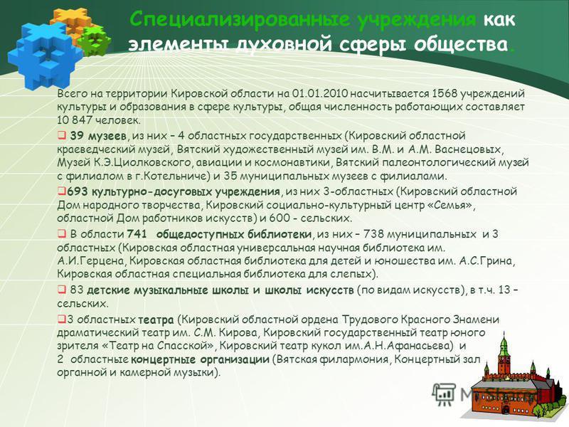 Специализированные учреждения как элементы духовной сферы общества. Всего на территории Кировской области на 01.01.2010 насчитывается 1568 учреждений культуры и образования в сфере культуры, общая численность работающих составляет 10 847 человек. 39