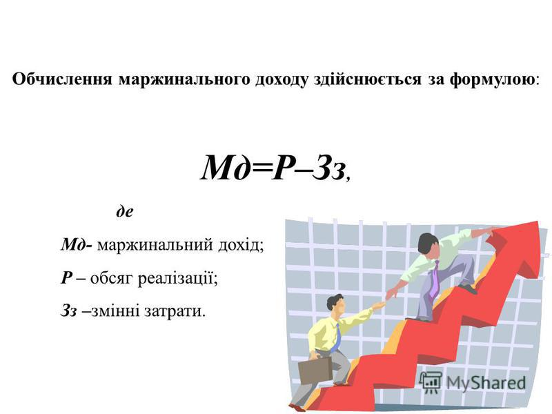 Обчислення маржинального доходу здійснюється за формулою: Мд=Р–Зз, де Мд- маржинальний дохід; Р – обсяг реалізації; Зз –змінні затрати.