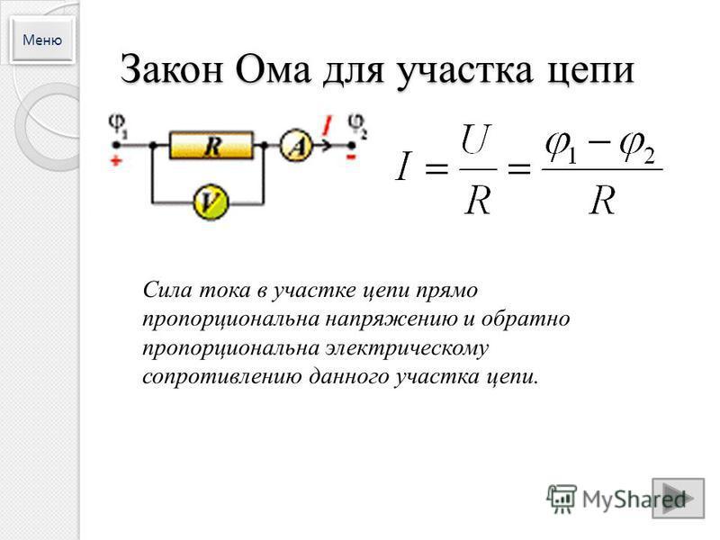 Закон Ома для участка цепи Сила тока в участке цепи прямо пропорциональна напряжению и обратно пропорциональна электрическому сопротивлению данного участка цепи. Меню