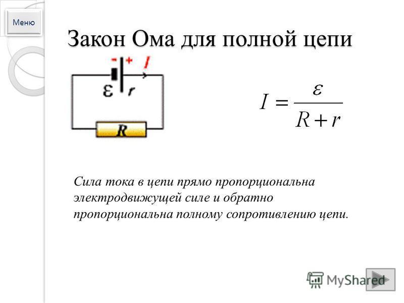 Закон Ома для полной цепи Сила тока в цепи прямо пропорциональна электродвижущей силе и обратно пропорциональна полному сопротивлению цепи. Меню