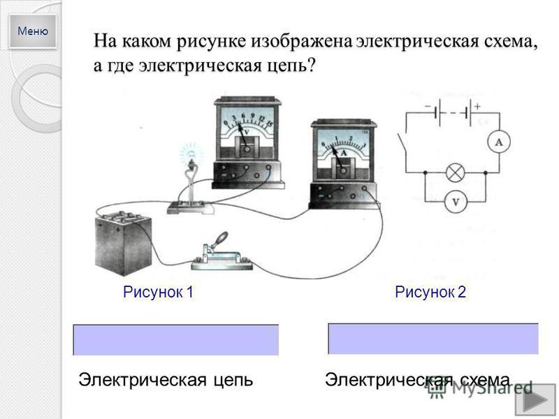На каком рисунке изображена электрическая схема, а где электрическая цепь? Рисунок 1Рисунок 2 Электрическая цепь Электрическая схема Меню