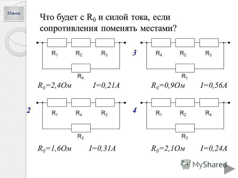 Что будет с R 0 и силой тока, если сопротивления поменять местами? R 0 =2,4Ом I=0,21AR 0 =0,9Ом I=0,56A R 0 =1,6Ом I=0,31AR 0 =2,1Ом I=0,24A R1R1 R2R2 R3R3 R4R4 R1R1 R2R2 R4R4 R3R3 R4R4 R2R2 R3R3 R1R1 R1R1 R4R4 R3R3 R2R2 Меню 2 3 4