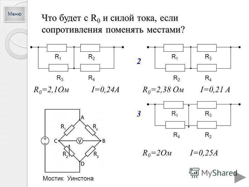 Что будет с R 0 и силой тока, если сопротивления поменять местами? R 0 =2,1Ом I=0,24AR 0 =2,38 Ом I=0,21 A R 0 =2Ом I=0,25A R1R1 R2R2 R3R3 R4R4 R1R1 R3R3 R2R2 R4R4 R1R1 R3R3 R4R4 R2R2 Меню 2 3 Мостик Уинстона