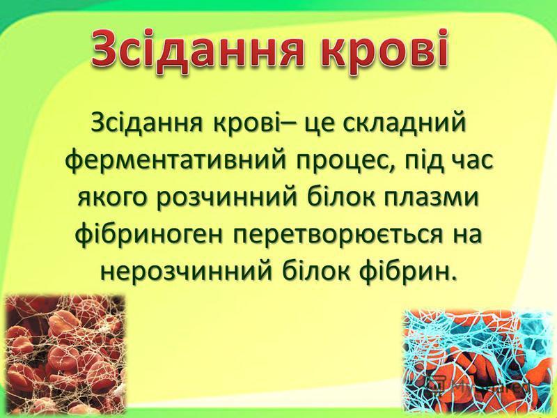 Зсідання крові– це складний ферментативний процес, під час якого розчинний білок плазми фібриноген перетворюється на нерозчинний білок фібрин.