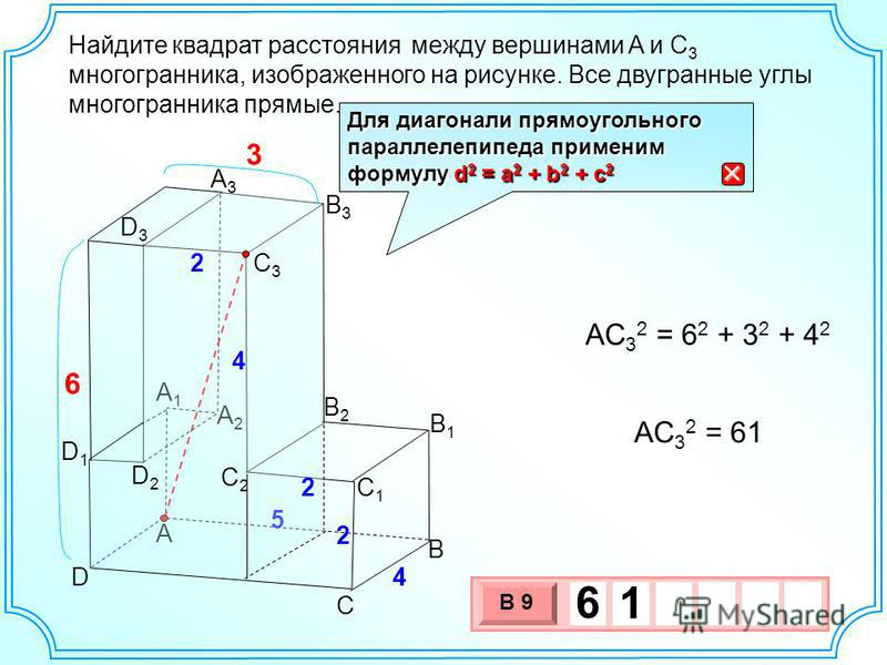 Найдите между вершинами A и C 3 многогранника, изображенного на рисунке. Все двугранные углы многогранника прямые. квадрат расстояния A B C D B2B2 C1C1 4 A2A2 A3A3 B1B1 B3B3 A1A1 5 C3C3 4 2 6 D3D3 2 D2D2 D1D1 C2C2 2 4 3 AC 3 2 = 6 2 + 3 2 + 4 2 AC 3