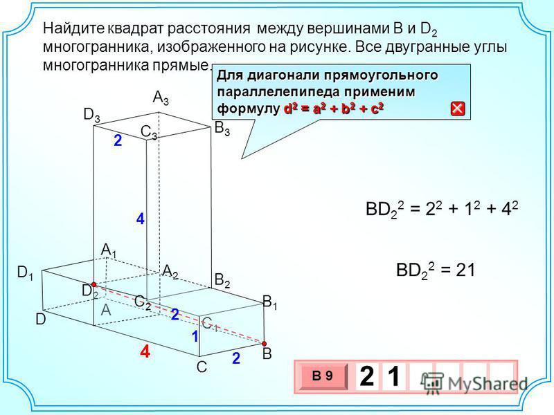 Найдите между вершинами B и D 2 многогранника, изображенного на рисунке. Все двугранные углы многогранника прямые. квадрат расстояния A B C D B2B2 C1C1 A2A2 A3A3 D1D1 B3B3 A1A1 C3C3 2 4 D3D3 2 D2D2 4 B1B1 C2C2 1 2 BD 2 2 = 2 2 + 1 2 + 4 2 BD 2 2 = 21