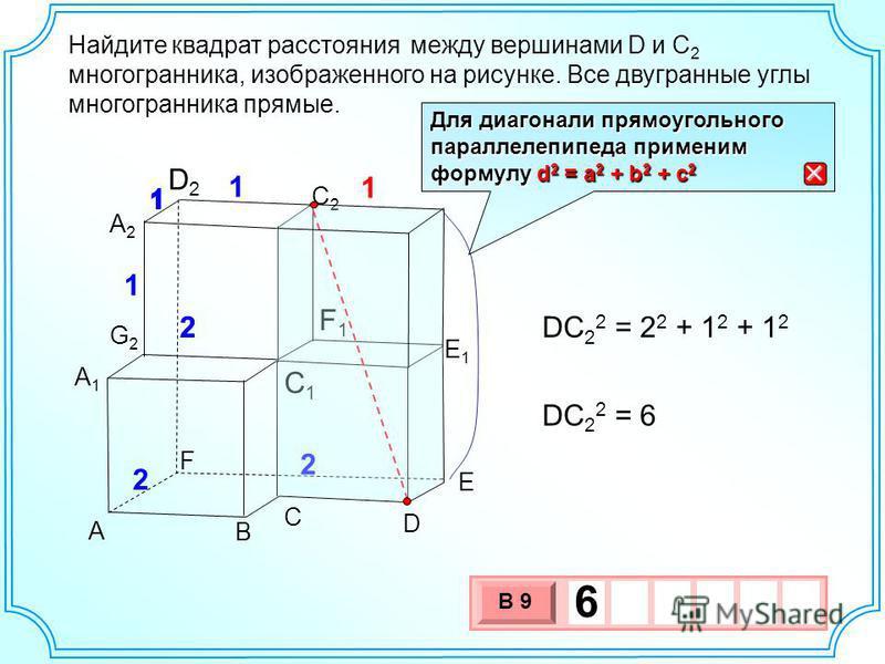 Найдите между вершинами D и C 2 многогранника, изображенного на рисунке. Все двугранные углы многогранника прямые. квадрат расстояния А1А1 A B C D E F C1C1 E1E1 F1F1 C2C2 D2D2 A2A2 G2G2 1 1 2 2 2 1 1 2 1 DС 2 2 = 2 2 + 1 2 + 1 2 DС 2 2 = 6 3 х 1 0 х