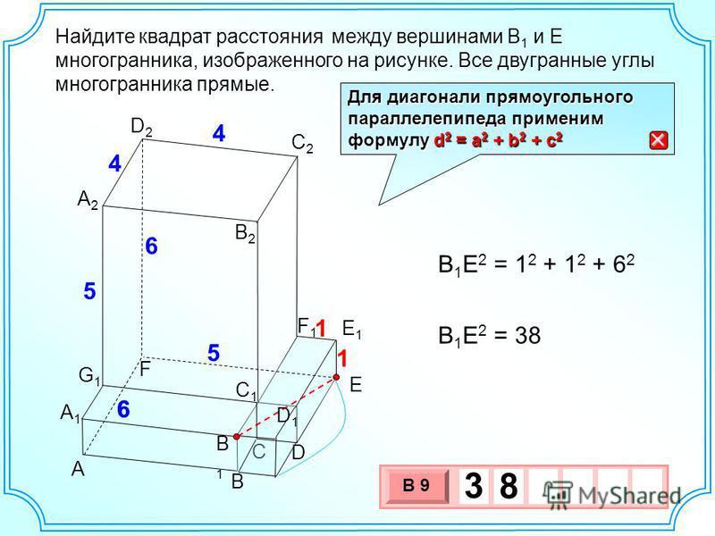 Найдите между вершинами B 1 и E многогранника, изображенного на рисунке. Все двугранные углы многогранника прямые. А1А1 A B C D E F E1E1 F1F1 A2A2 B1B1 B2B2 5 5 4 6 6 C2C2 D2D2 G1G1 C1C1 D1D1 1 1 4 6 B 1 E 2 = 1 2 + 1 2 + 6 2 B 1 E 2 = 38 3 х 1 0 х В