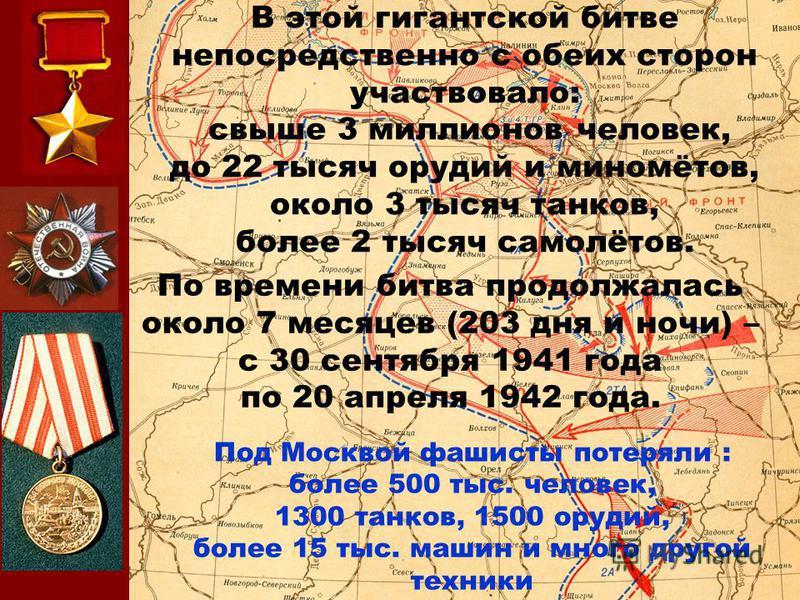 В этой гигантской битве непосредственно с обеих сторон участвовало: свыше 3 миллионов человек, до 22 тысяч орудий и миномётов, около 3 тысяч танков, более 2 тысяч самолётов. По времени битва продолжалась около 7 месяцев (203 дня и ночи) – с 30 сентяб
