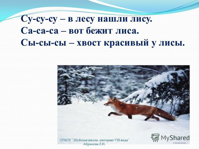 Су-су-су – в лесу нашли лису. Са-са-са – вот бежит лиса. Сы-сы-сы – хвост красивый у лисы. ОГКОУ  Шуйская школа -интернат VIII вида Абрамова Л.Н.