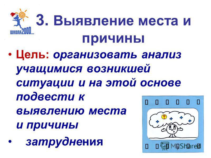 3. Выявление места и причины Цель: организовать анализ учащимися возникшей ситуации и на этой основе подвести к выявлению места и причины затруднения