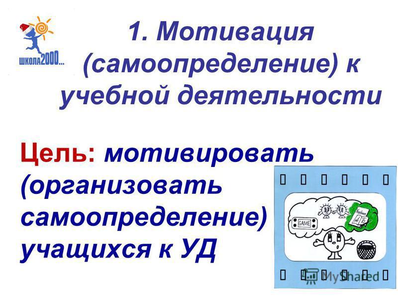1. Мотивация (самоопределение) к учебной деятельности Цель: мотивировать (организовать самоопределение) учащихся к УД
