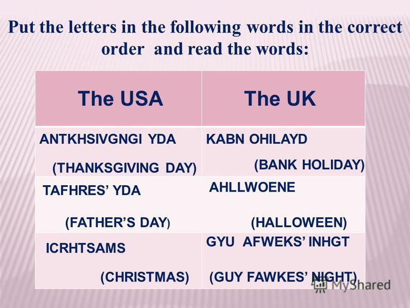 Put the letters in the following words in the correct order and read the words: (THANKSGIVING DAY) ANTKHSIVGNGI YDA TAFHRES YDA (FATHERS DAY ) ICRHTSAMS (CHRISTMAS) KABN OHILAYD (BANK HOLIDAY) AHLLWOENE (HALLOWEEN) GYU AFWEKS INHGT (GUY FAWKES NIGHT)